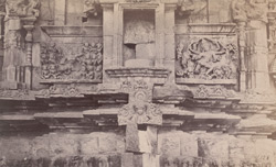 Close view of sculpture panels and mouldings on wall of the Kashivishveshvara Temple, Lakkundi